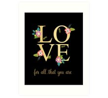 Love Gold And Floral Print Art Print