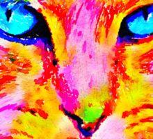 Cat, Bright Orange, Yellow, and Pink Sticker