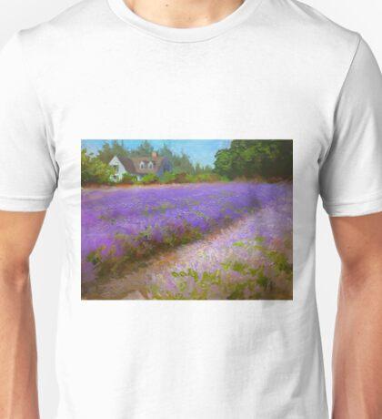 Lavender Field and Farm House Landscape Oil Painting Unisex T-Shirt