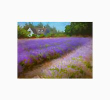 Lavender Field and Farm House Landscape Oil Painting Unisex T-Shirt