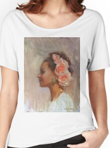 Classic Portrait of Woman With Flowers in Her Hair Women's Relaxed Fit T-Shirt