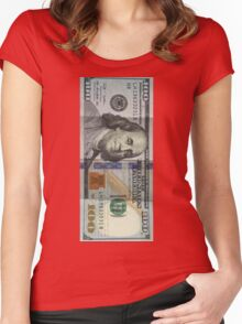 Money - One Hundred Dollar Bill Women's Fitted Scoop T-Shirt