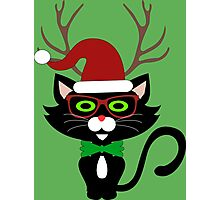 Funny Hipster Xmas Cat Photographic Print