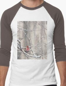 Red Bird On Snowy Branches - Winter Scene with Common Redpoll Men's Baseball ¾ T-Shirt