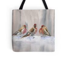 Red Birds in A Row In The Snow - Winter Red Poll Painting Tote Bag