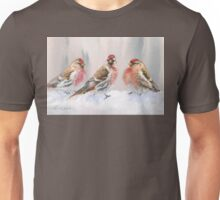 Red Birds in A Row In The Snow - Winter Red Poll Painting Unisex T-Shirt