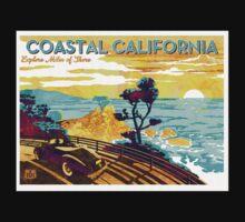 Coastal California Vintage Poster Watercolor Painting on Canvas Kids Tee