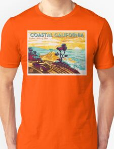 Coastal California Vintage Poster Watercolor Painting on Canvas Unisex T-Shirt