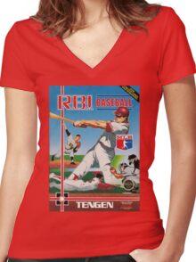 Nintendo RBI Baseball Women's Fitted V-Neck T-Shirt