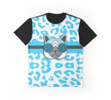 Hipster Cat Turquoise Animal Print Graphic T-Shirt