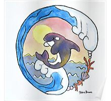 Playful Orca Watercolor Poster