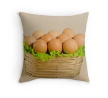 Basket with the eggs Throw Pillow