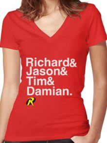 Richard & Jason & Tim & Damian. Robin T-shirt and more  Women's Fitted V-Neck T-Shirt