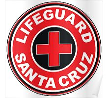 LIFEGUARD SANTA CRUZ SURFING CALIFORNIA SURFER BEACH SURFBOARD Poster