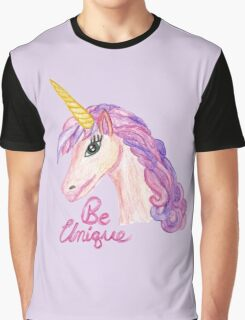 Girly Watercolor Unicorns Be Unique Typography Graphic T-Shirt