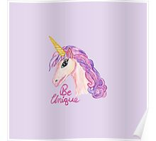 Girly Watercolor Unicorns Be Unique Typography Poster