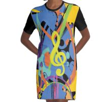 Painted music Abstract Graphic T-Shirt Dress