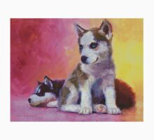Husky Puppies - Canine Dog Painting Baby Tee