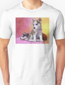 Husky Puppies - Canine Dog Painting Unisex T-Shirt