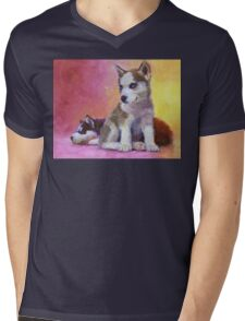 Husky Puppies - Canine Dog Painting Mens V-Neck T-Shirt