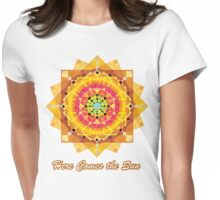 Here Comes the Sun ( sun salutation mandala) Womens Fitted T-Shirt