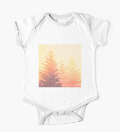 Cedar Trees Silhouette - Foggy Forest Painting Light Version One Piece - Short Sleeve
