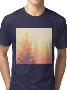 Cedar Trees Silhouette - Foggy Forest Painting Light Version Tri-blend T-Shirt