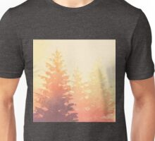 Cedar Trees Silhouette - Foggy Forest Painting Light Version Unisex T-Shirt