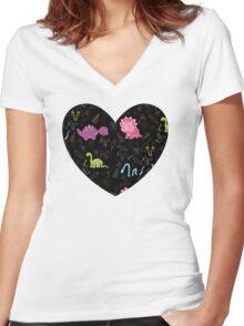 Dinamic Girlz Dino Pattern Women's Fitted V-Neck T-Shirt