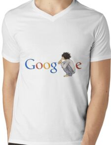 Google ( the L of google is replaced by L of death note ) Mens V-Neck T-Shirt
