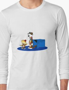 calvin and hobbes meets tardis box Long Sleeve T-Shirt