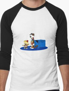 calvin and hobbes meets tardis box Men's Baseball ¾ T-Shirt