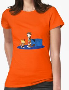 calvin and hobbes meets tardis box Womens Fitted T-Shirt