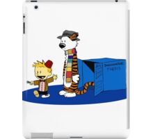 calvin and hobbes meets tardis box iPad Case/Skin