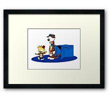 calvin and hobbes meets tardis box Framed Print