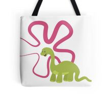 Dinamic Girls Collection - Green Dinosaur Girl with Flower Tote Bag