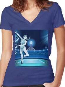 Gymnastics Background Olympics Summer Games 2016 Vector Illustration Women's Fitted V-Neck T-Shirt