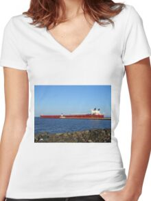 Ship on Lake Superior Women's Fitted V-Neck T-Shirt