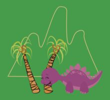 Dinamic Girls Collection - Purple Dinosaur Girl with Palm Trees One Piece - Short Sleeve
