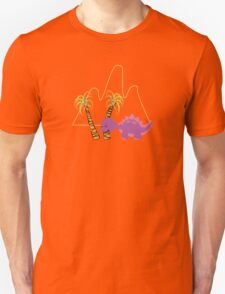 Dinamic Girls Collection - Purple Dinosaur Girl with Palm Trees Unisex T-Shirt