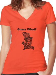 """Crested Gecko """"Guess What? Frog Butt"""" Women's Fitted V-Neck T-Shirt"""