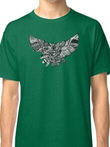 Owl Birds Pattern on Black Classic T-Shirt