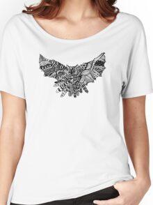 Owl Birds Pattern on Black Women's Relaxed Fit T-Shirt