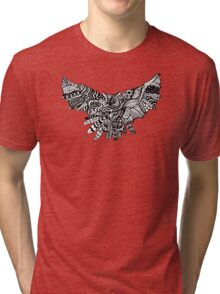Owl Birds Pattern on Black Tri-blend T-Shirt