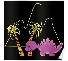 Dinamic Girls Collection - Purple Dinosaur Girl with Palm Trees Poster