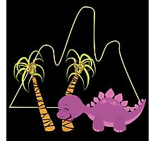 Dinamic Girls Collection - Purple Dinosaur Girl with Palm Trees Photographic Print