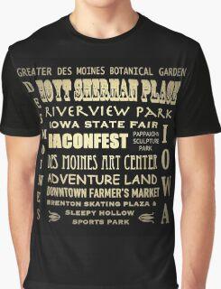 Des Moines Iowa Famous Landmarks Graphic T-Shirt