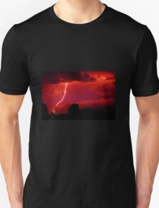 Lightning in red sky Unisex T-Shirt
