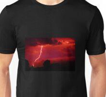 Lightning in red sky Unisex T-Shirt
