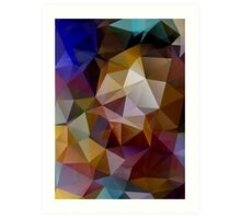 Abstract background of triangles, polygon wallpaper in retro bright colors. Art Print